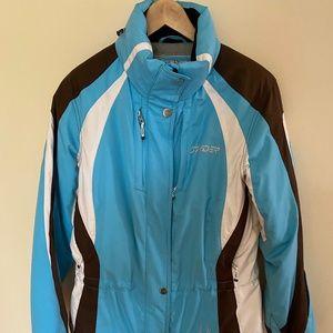 Spyder women ski jacket Blue White and Brown